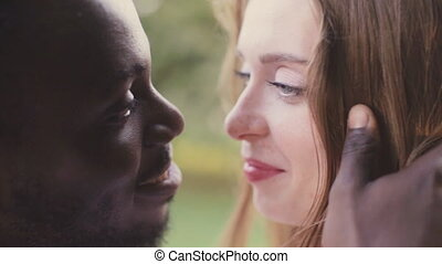 Black African man and white girl. Inter-ethnic love