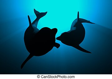 dolphins - 3d dolphins in blue light love concept