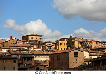 Beautiful landscape the roofs of houses of Europe Sienna old...