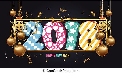 vector illustration of happy new year 2018 wallpaper gold balls and black colorful