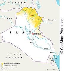 Iraqi Kurdistan Region political map. Official, controlled...