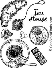 Vector ink hand drawn style tea house set with tea cup,...