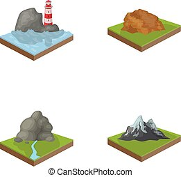 Mountains, rocks and landscape. Relief and mountains set...