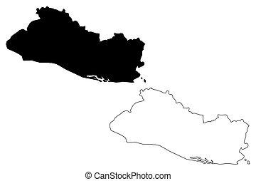 El Salvador map vector illustration, scribble sketch El...