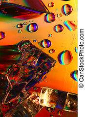 colored water drops macro close up