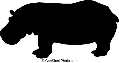 black and white vector hippo silhouette