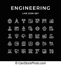 Set line icons of engineering isolated on black. Vector...