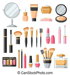 Cosmetics for skincare and makeup. Product set for catalog...