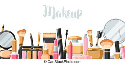 Cosmetics for skincare and makeup. Banner for catalog or...