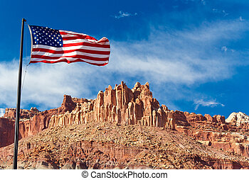 US flagg in Capital Reef National Park, Utha, USA