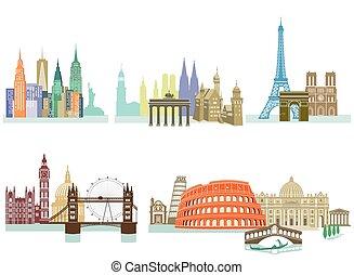 Stadt Monumente.eps - Travel Landmark Monuments llustration