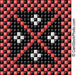 black, white and red cubes - abstract colored background...