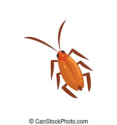 Brown cockroach insect cartoon vector illustration isolated...