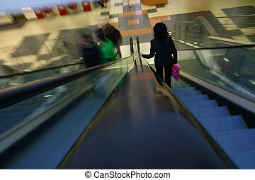 blurred escalator abstract transportation background