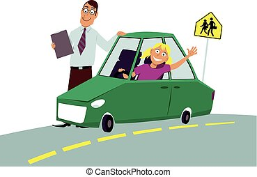 Driving test - Teenage driving school student sitting in the...