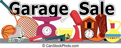 Garage sale sign - Garage sale banner with assorted...