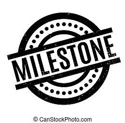 Milestone rubber stamp. Grunge design with dust scratches....