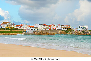 Portugese coastal town . Baleal - Small Portugese town on...