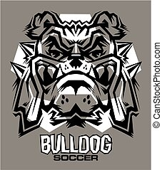 bulldog soccer team design with mascot and ball for school,...