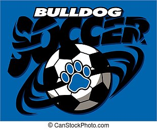 bulldog soccer team design with ball and paw print for...
