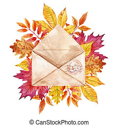 Watercolor envelop with leaves - Beautiful composition with...