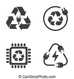 Recycle sign, e-waste garbage icons on white background