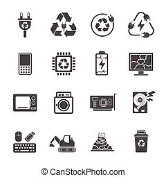 Recycling e-waste garbage, Contains such Icons as Electronic...