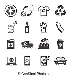 Recycling garbage, Contains such Icons as Waste, Paper,...