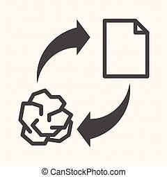 Conceptual recycling paper. Recycle sign, Vector icon design