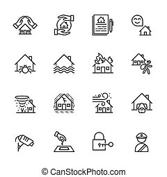 House, Property insurance, Vector illustration of thin line...