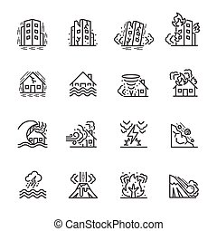Natural Disaster, Vector illustration of thin line icons for...