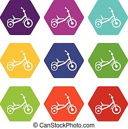 Tricycle icon set color hexahedron - Tricycle icon set many...