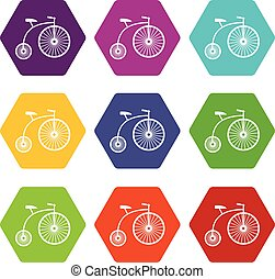 Penny-farthing icon set color hexahedron - Penny-farthing...