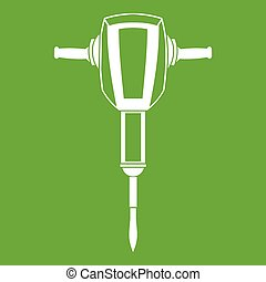 Pneumatic plugger hammer icon green - Pneumatic plugger...