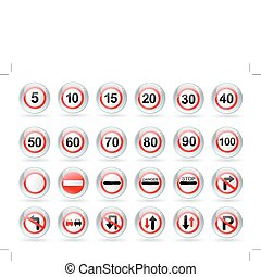 traffic signs - glossy balls with traffic signs