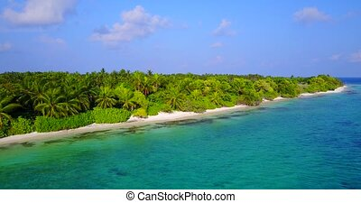 v05240 Aerial flying drone view of Maldives white sandy...