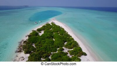 v05375 Aerial flying drone view of Maldives white sandy...