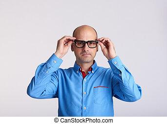 worried man wearing eyeglasses isolated - worried man...
