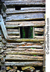 Background of Hand Hewn Logs - Background image shows wall...