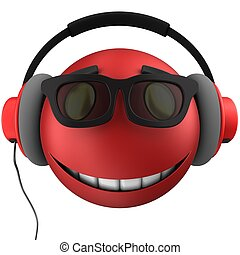3d red emoticon smile - 3d illustration of red emoticon...