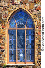 Christ in the Window - Beautiful stained glasss window of...