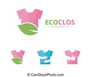 Set of cloth logo combination. Shirt and eco symbol or icon....