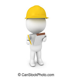 3D illustration of a researcher wearing yellow hard hat....