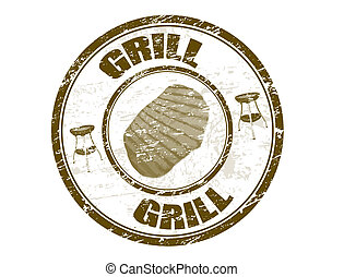 Grill stamp - Grunge rubber stamp with steak shape and the...