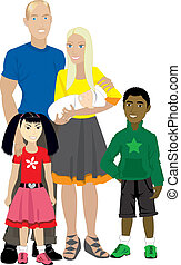 Family 7 Isolated Adopted - Vector illustration of Family...