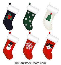 Set Of New Years Socks, Isolated On White Background, Vector...