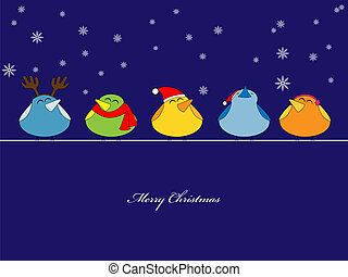 Christmas song - Vector pictire of birds singing christmas...