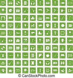 conjunto, grunge, iconos, verde, 100, educación, musical