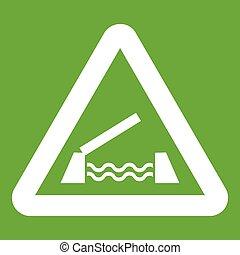 Lifting bridge warning sign icon green - Lifting bridge...