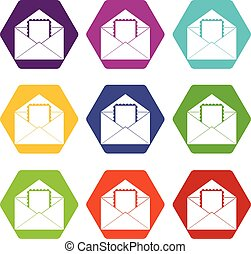 Envelope with card icon set color hexahedron